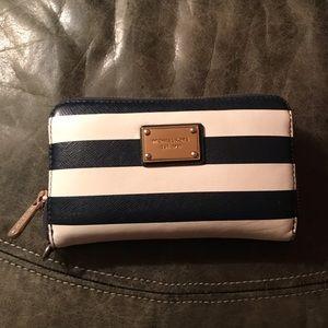 MK striped wallet